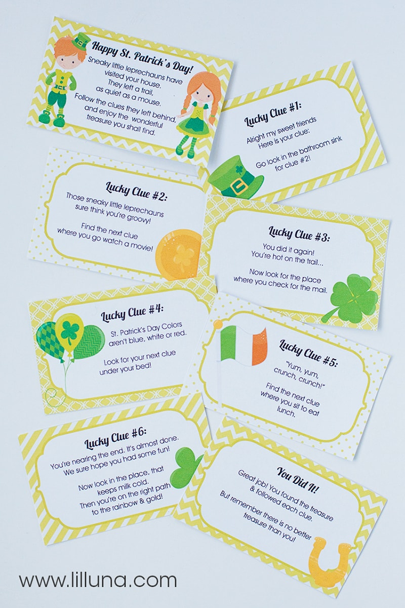 St. Patrick's Day Treasure Hunt with free prints - the kids will LOVE this! { lilluna.com }