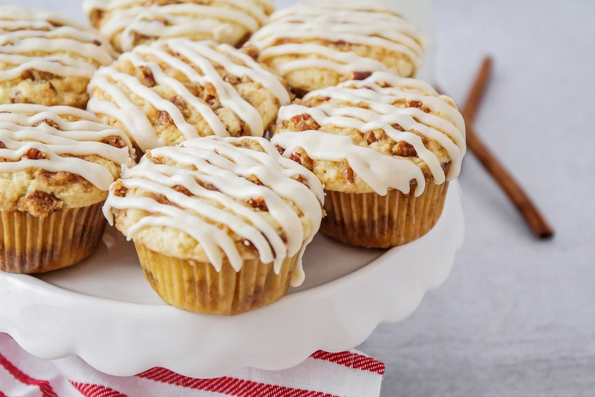 Coffee cake muffins on cake stand