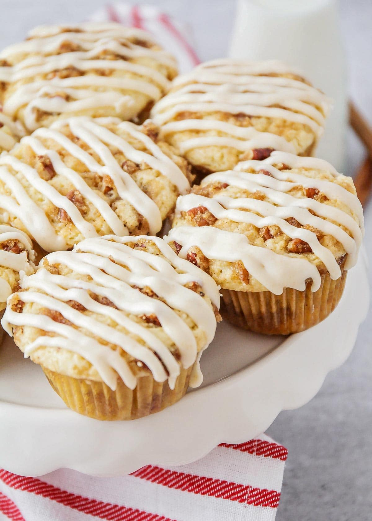 Coffee cake muffins recipe on stand