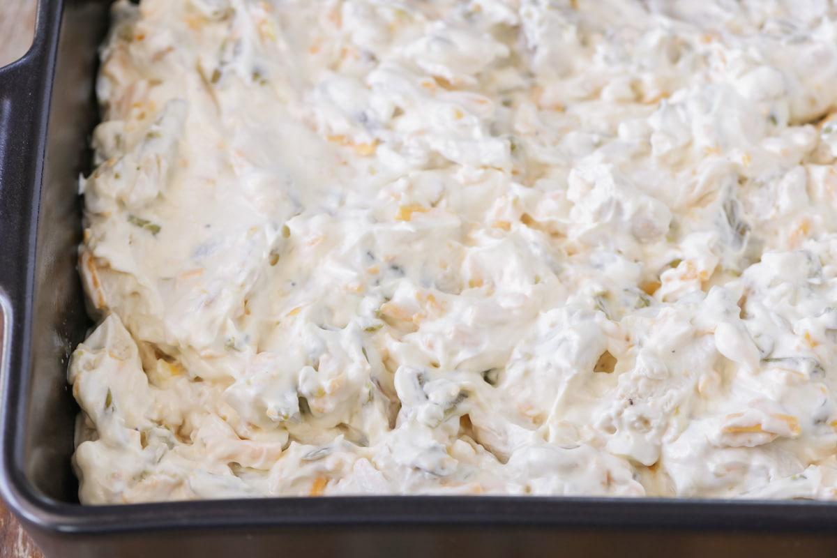 Casserole mixture in baking dish