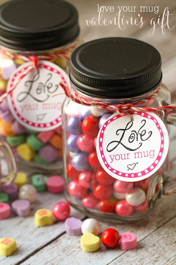 LOVE your Mug Valentine's gift idea - free tags on { lilluna.com } Just fill with your fav Valentine candy!