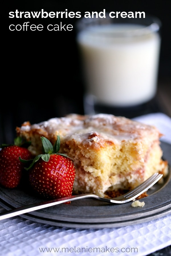 Strawberries and Cream Coffee Cake recipe - a new favorite breakfast treat { lilluna.com } Cream cheese and strawberry jam between layers of cake batter, then topped with a streusel and light glaze.