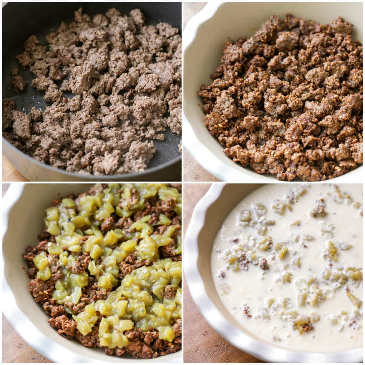 How to make taco pie process pics