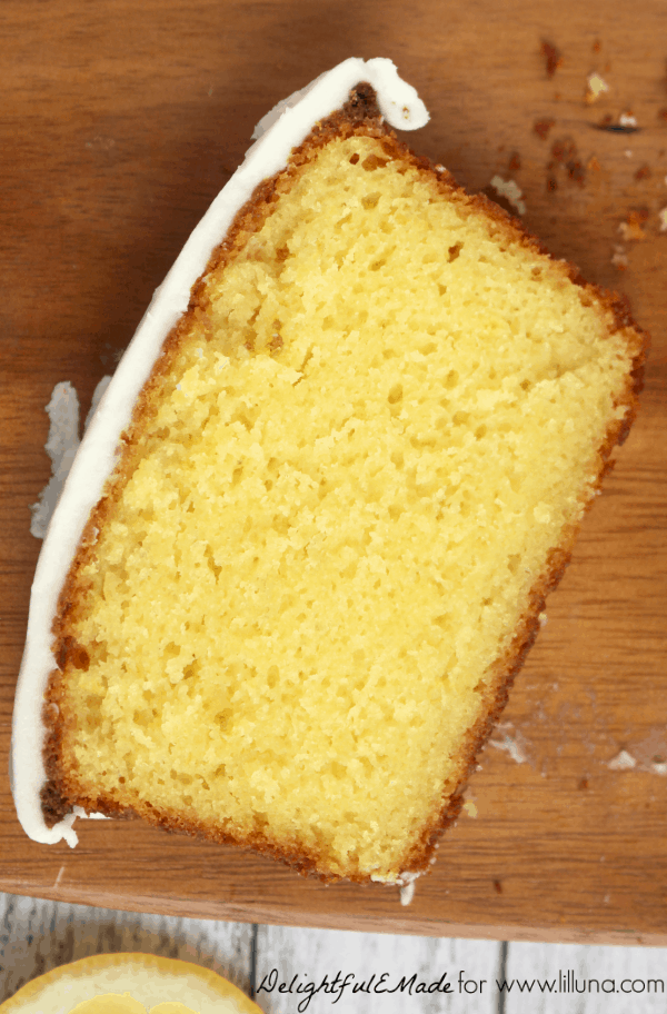 one slice of lemon loaf cake