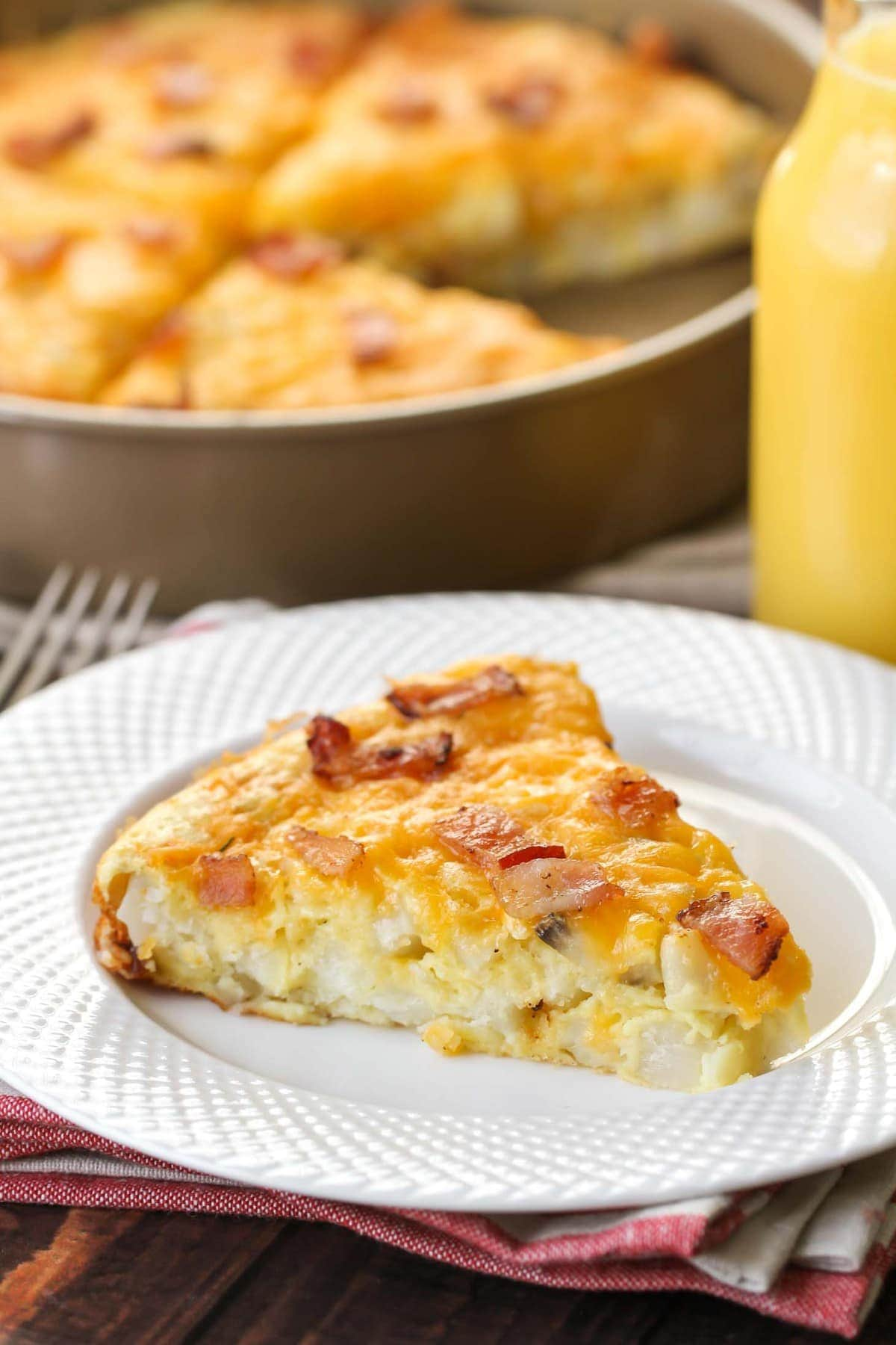 Bisquick Breakfast Casserole on white plate