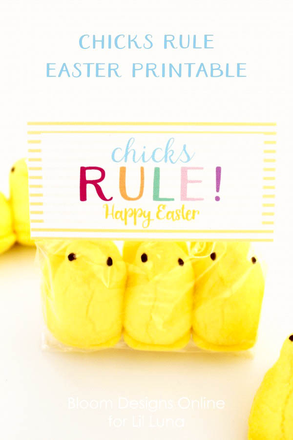 Adorable and colorful Chicks Rule Easter Printable on { lilluna.com } The cutest tag for your Easter treats.