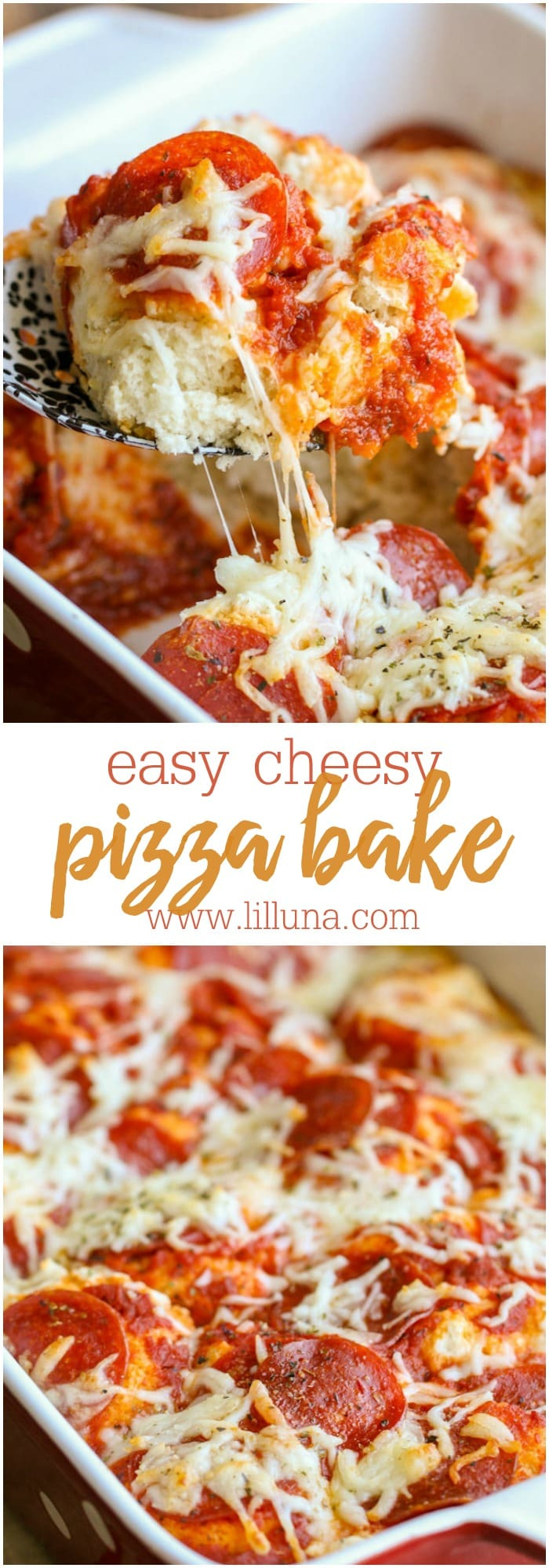 Easy Pizza Bake - a new favorite dinner recipe!! Pizza dough made from bisquick smothered in pizza sauce and cheese topped with toppings of your choice!! YUM!