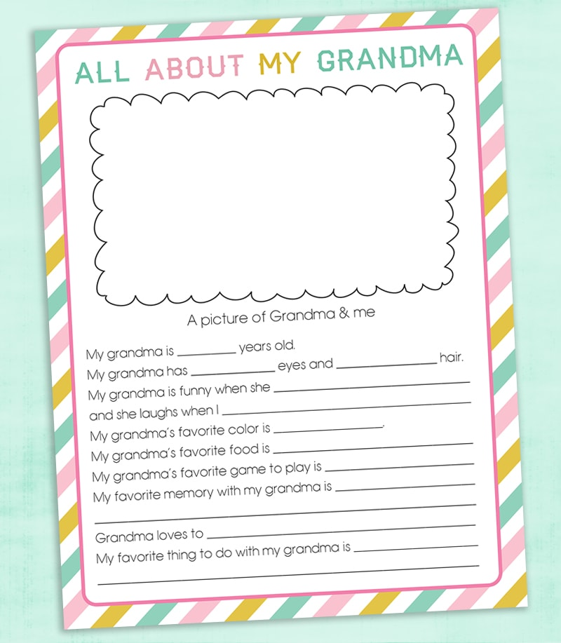 picture relating to All About My Grandma Printable referred to as Free of charge Moms Working day Questionnaire Printable Lil Luna