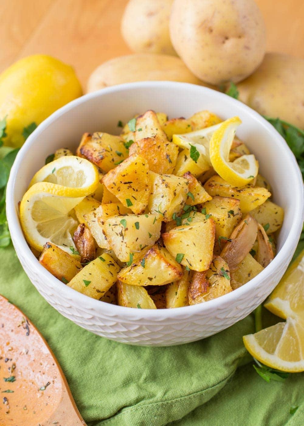 Lemon herb potatoes in bowl