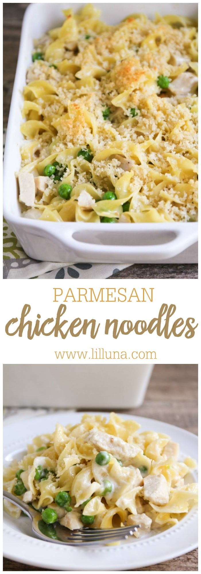 Garlic Parmesan Chicken and Noodles recipe { lilluna.com } So delicious and recipe includes egg noodles, peas, chicken, panko, and parmesan in a creamy sauce!