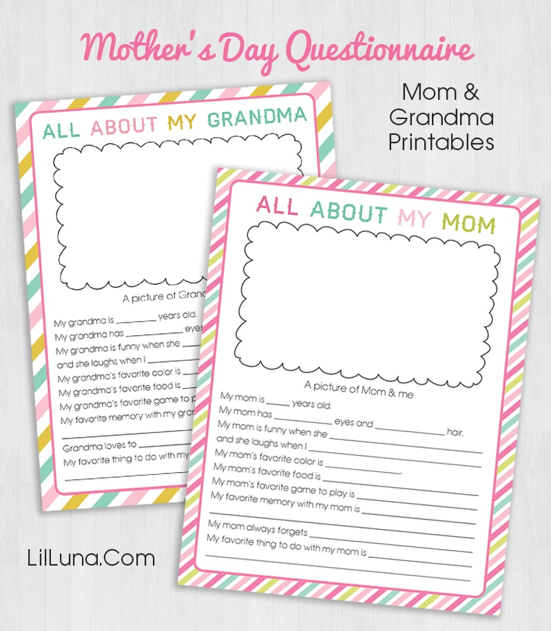 photograph regarding All About My Grandma Printable named Cost-free Moms Working day Questionnaire Printable Lil Luna