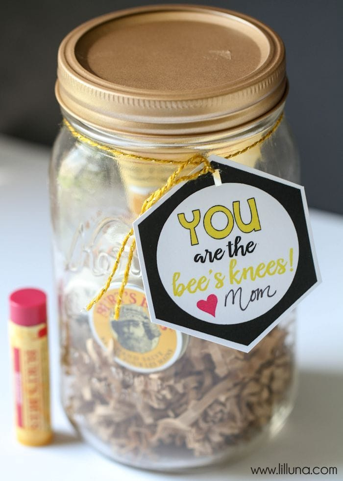 Bee's Knees Birthday Gift - so cute and filled with Burt's Bees products. Free tags for mom and teacher too! { lilluna.com }
