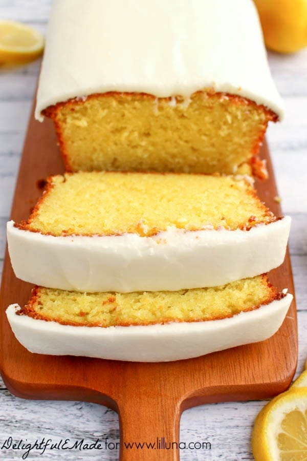 iced lemon pound cake cut into slices
