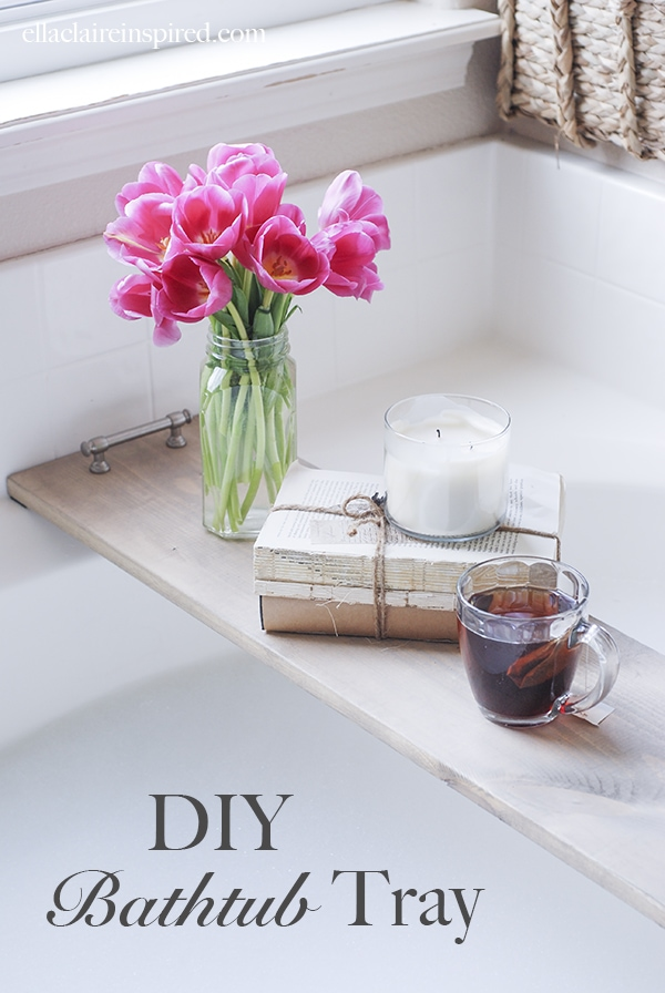 This easy DIY bathtub tray is perfect for  drink or your favorite book while you soak!