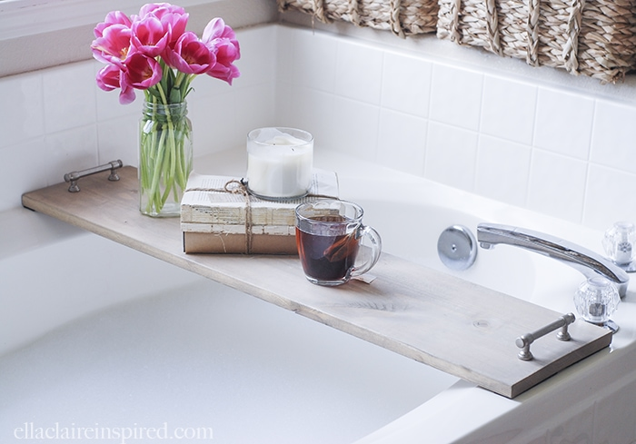 This easy DIY bathtub tray is perfect to hold your drink and your favorite book while you soak!