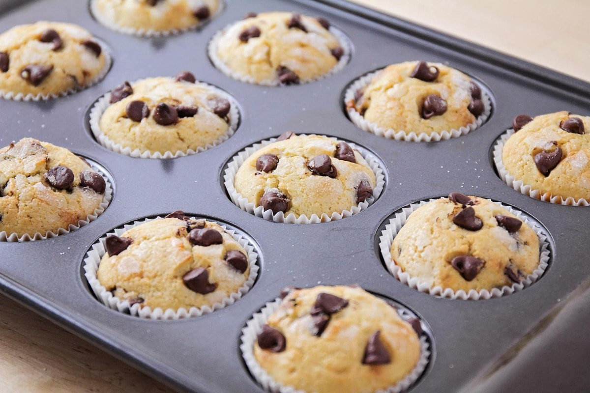 Easy chocolate chip muffins in a baking tin
