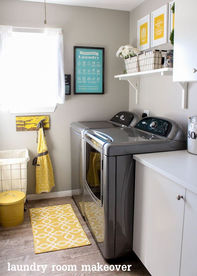 Beautiful Laundry Room Makeover on { lilluna.com } Great ideas to help inspire your own creativity!