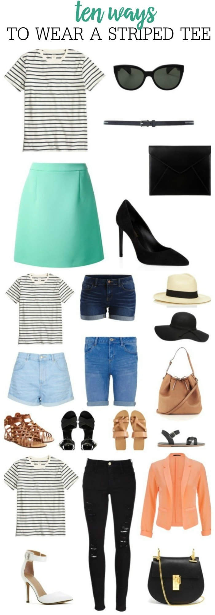 10 Ways to Wear a Striped Tee - so many great fashion and outfit ideas from casual to fancy!