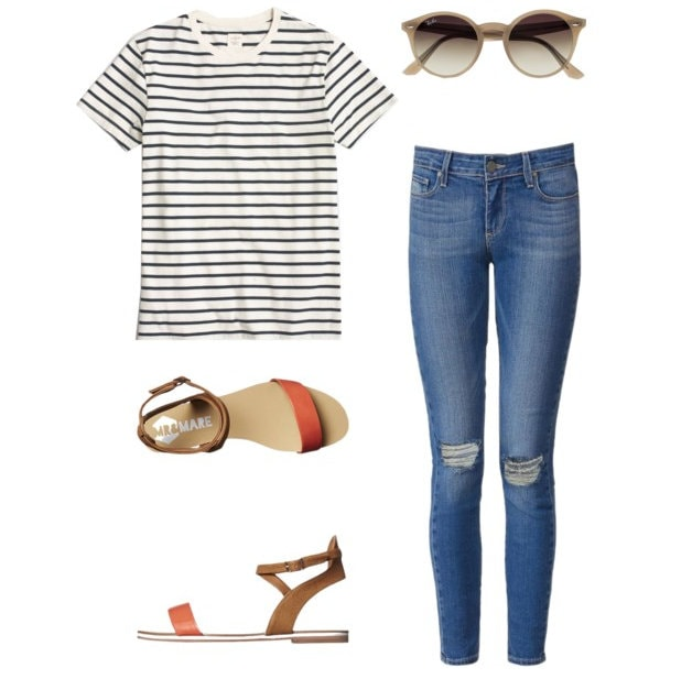 f81840250366 10 Ways to Wear a Striped Tee - so many great fashion and outfit ideas from