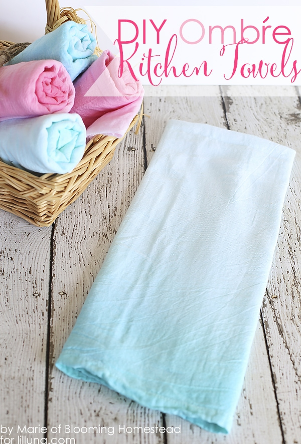 Easy to follow tutorial showing you how to make these lovely diy Ombre kitchen towels, using flour sack towels, fabric dye, and some hot water!