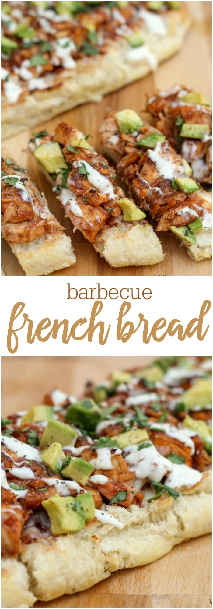Barbecue Chicken French Bread - one of our favorite appetizers. Perfect for any party! French bread slices topped with chicken, avocados, cilantro, bbq sauce and ranch!