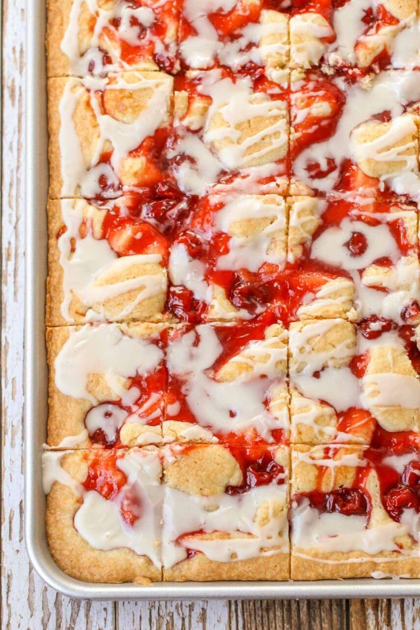 Cherry bars sliced up