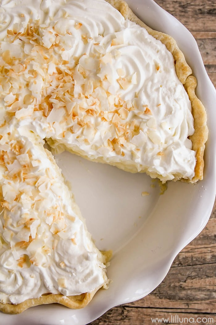 Easy Coconut Cream Pie with a slice missing
