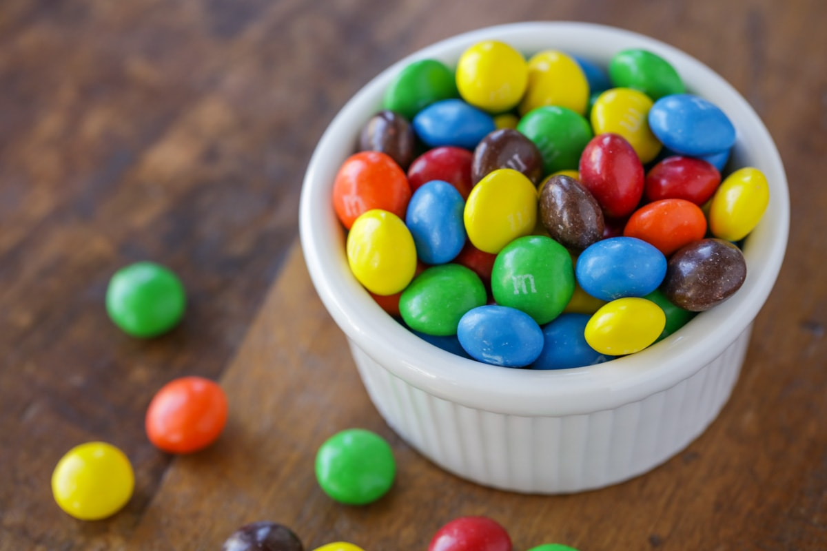 M&Ms in a white bowl