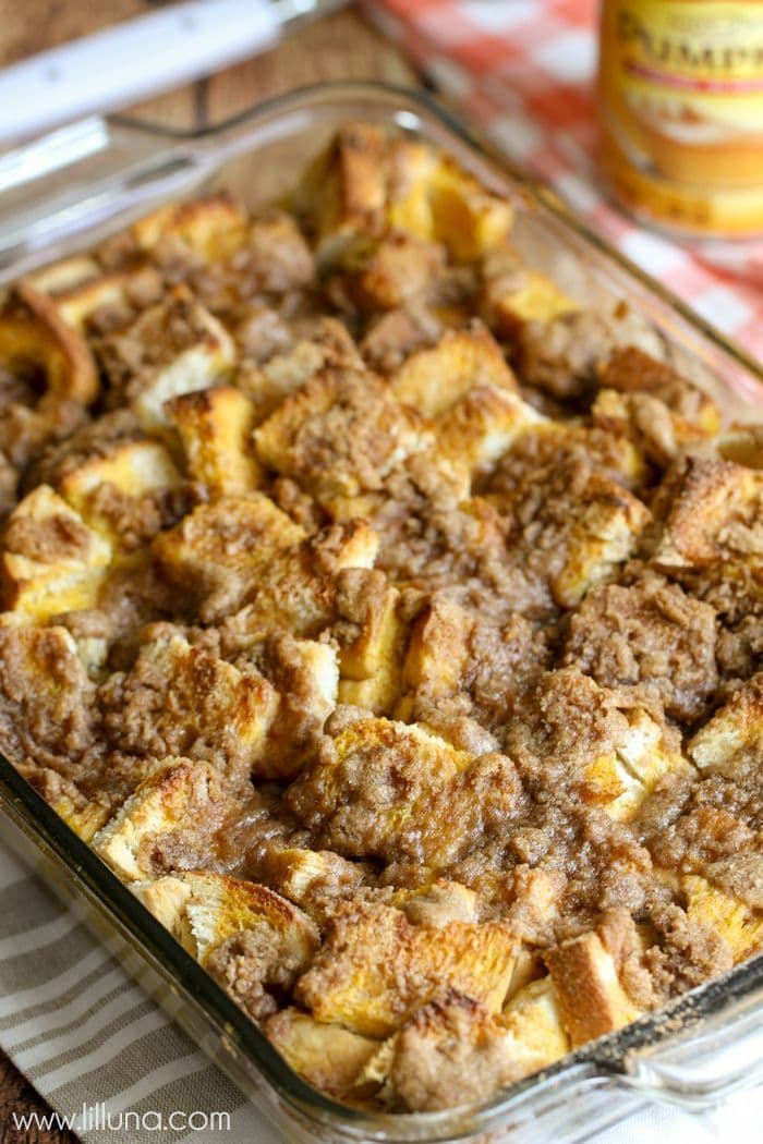 Pumpkin French Toast Bake with a homemade Cinnamon Buttermilk Syrup - seriously the best breakfast recipe EVER! { lilluna.com }