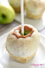 Apple Pie Caramel Apples {Disney Copycat Recipe} ~ tart Granny Smith apples are dipped in chewy caramel, coated in white chocolate, sprinkled with cinnamon sugar, and then finished off with pie crust crumbs for your favorite Disney treat easily made at home for a fraction of the price! | FiveHeartHome.com for LilLuna.com