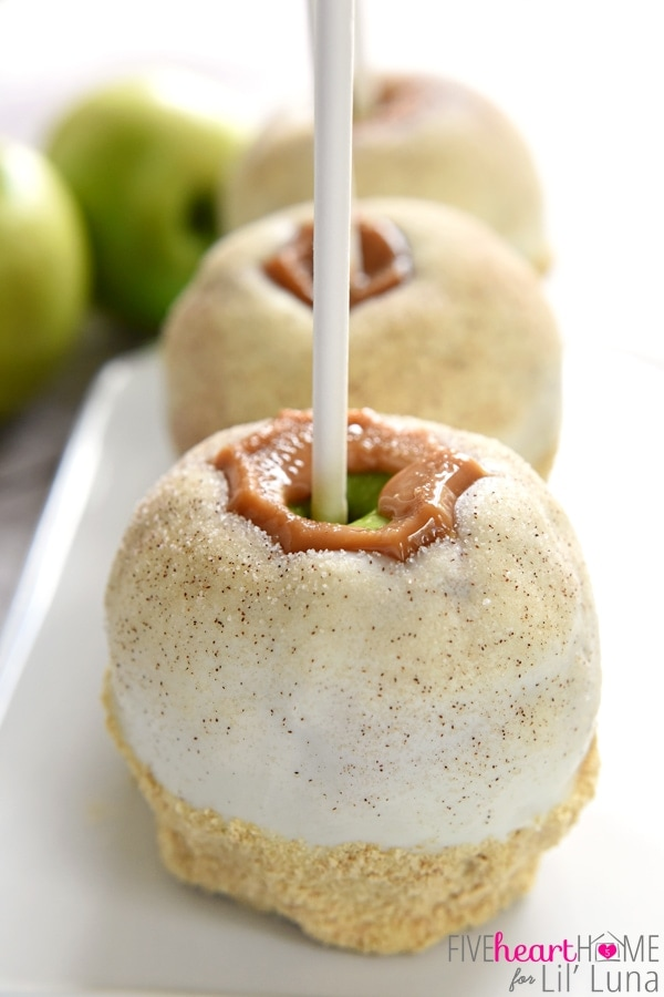 Apple Pie Caramel Apples {Disney Copycat Recipe} ~ tart Granny Smith apples are dipped in chewy caramel, coated in white chocolate, sprinkled with cinnamon sugar, and then finished off with pie crust crumbs for your favorite Disney treat easily made at home for a fraction of the price!