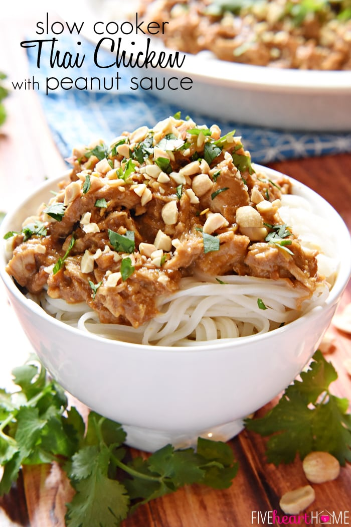 Slow Cooker Thai Chicken with Peanut Sauce | FiveHeartHome.com