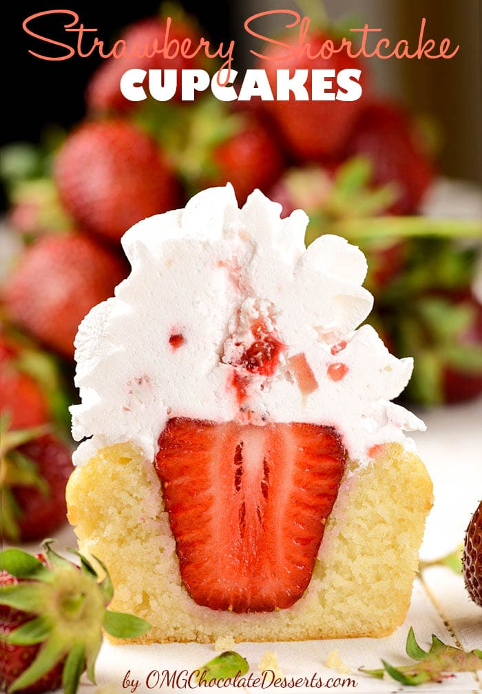 Strawberry Shortcake Cupcakes - famous strawberry cake in form of delicious cupcakes.