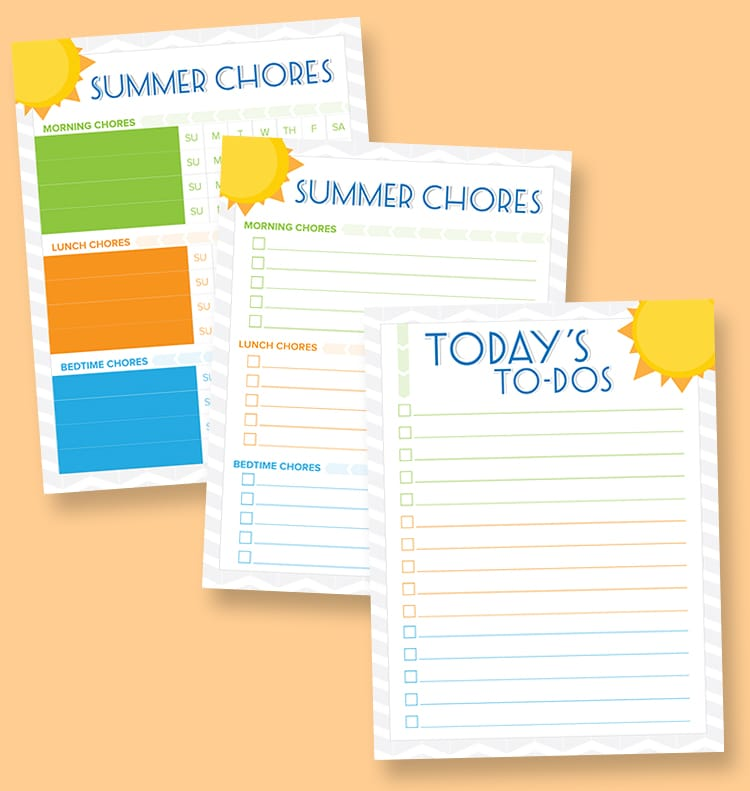 photo about Summer Chore Chart Printable named Free of charge Printable Summer months Chore Charts - Lil Luna