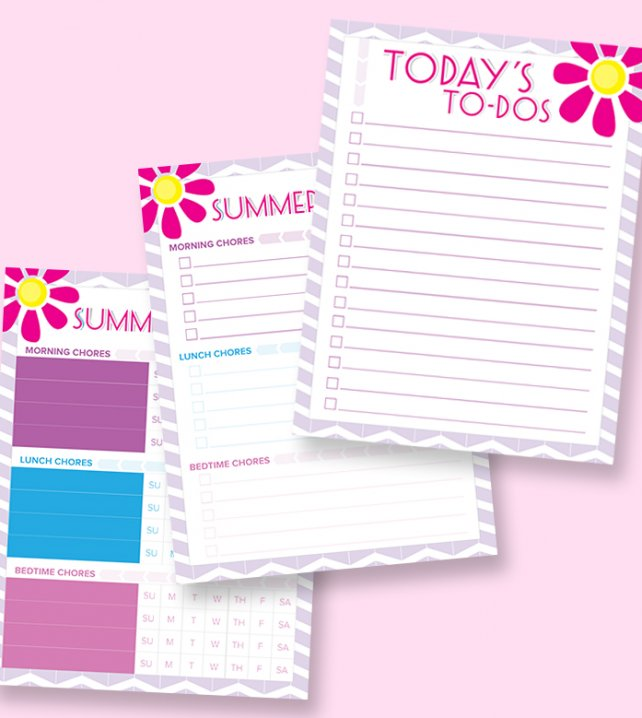 free printable fill-in summer chore charts for girls