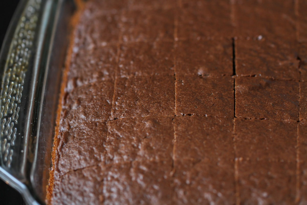Chocolate cake cut into squares to use in mint trifle recipe