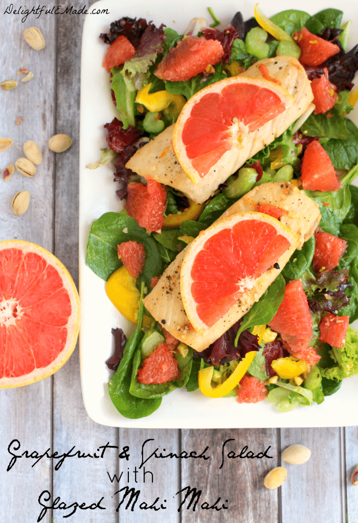 Grapefruit and Spinach Salad with Mahi Mahi