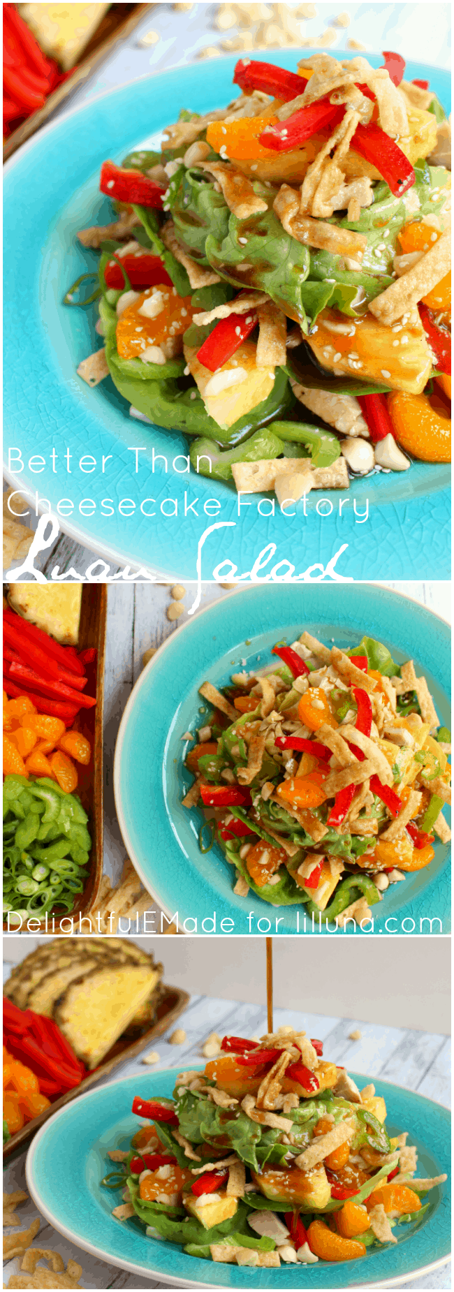 Loaded with sweet, tropical flavors, this delicious Luau Salad is BETTER than what you'll get at Cheesecake Factory! Fresh pineapple, mandarin oranges, celery, onions, wantons and a sweet pineapple balsamic dressing top this easy-to-make layered salad. Perfect for summer on the patio!
