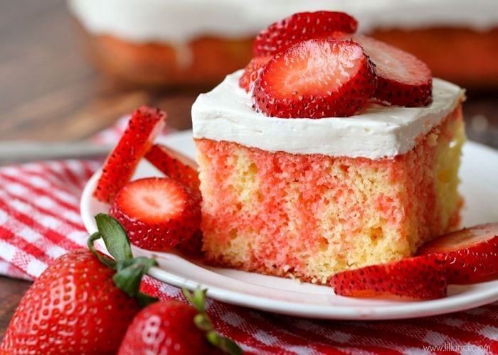 Strawberry Shortcake Cake with with strawberries on plate