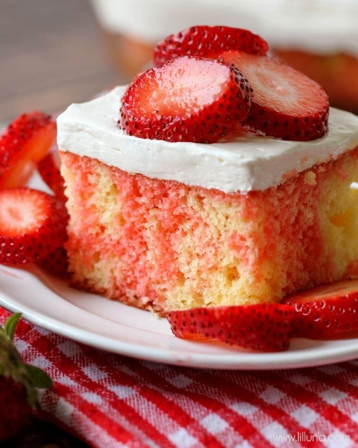 Strawberry Shortcake Cake Recipe with strawberries on plate