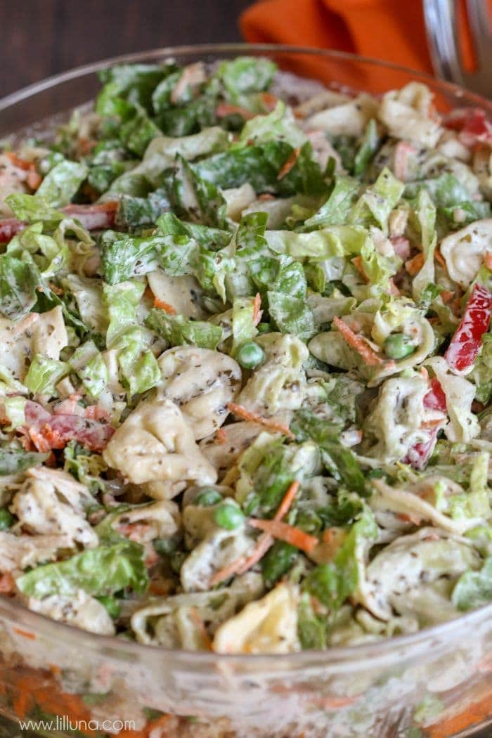 Chicken Tortellini Pesto Salad - a simple and delicious summer salad that everyone will love!! It's filled with chicken, tortellini, peas, carrots, peppers, pesto and more! Recipe on { lilluna.com }