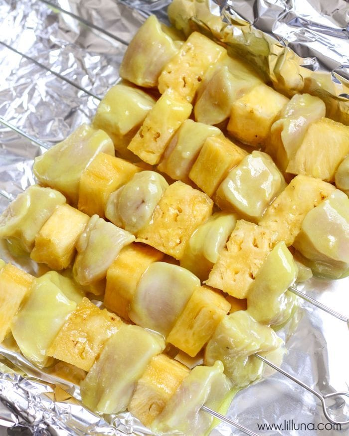 chicken and pineapple on skewers
