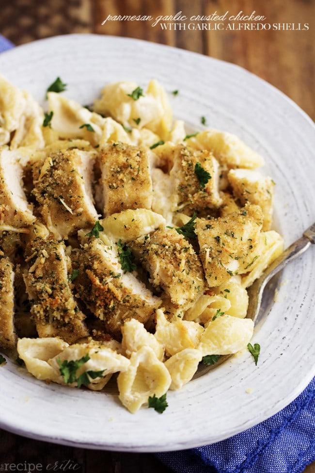 Parmesan Garlic Crusted Chicken with Garlic Alfredo Shells