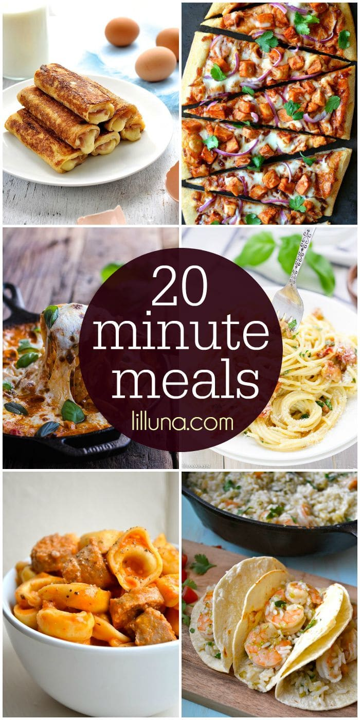 A collection of meals that only take 20 minutes to make! Lots of delicious - and quick - recipes! Check it out on { lilluna.com } Pastas, pizzas, tacos, and more!