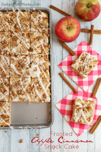Frosted Apple Cinnamon Snack Cake by Delightful E Made