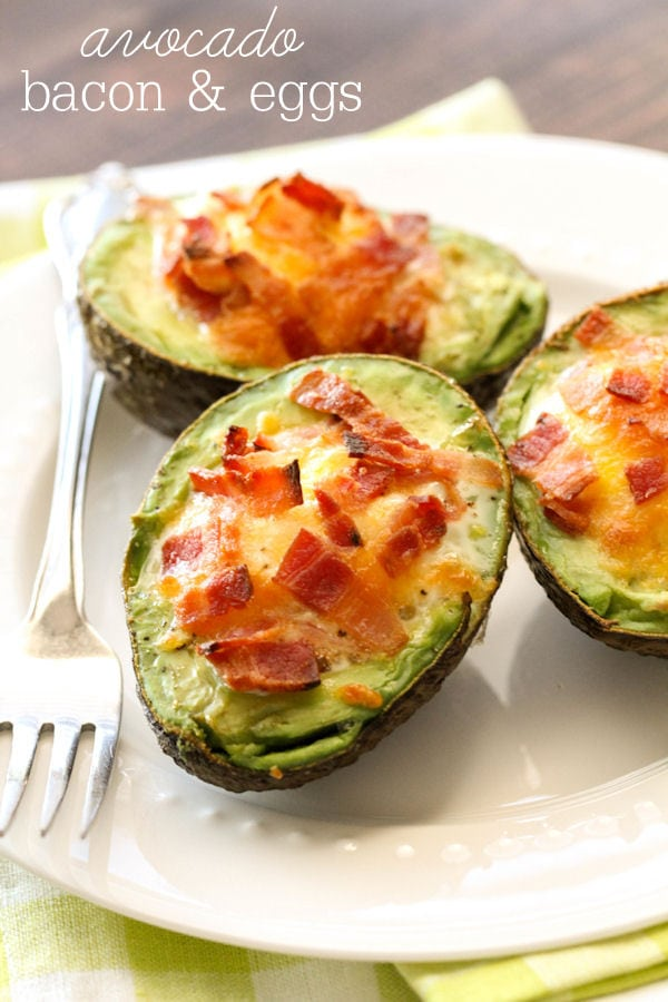 We love these Avocado Bacon and Eggs - they're so easy too! { lilluna.com } Just add some low-fat cheese, salt and pepper and you have a yummy breakfast!