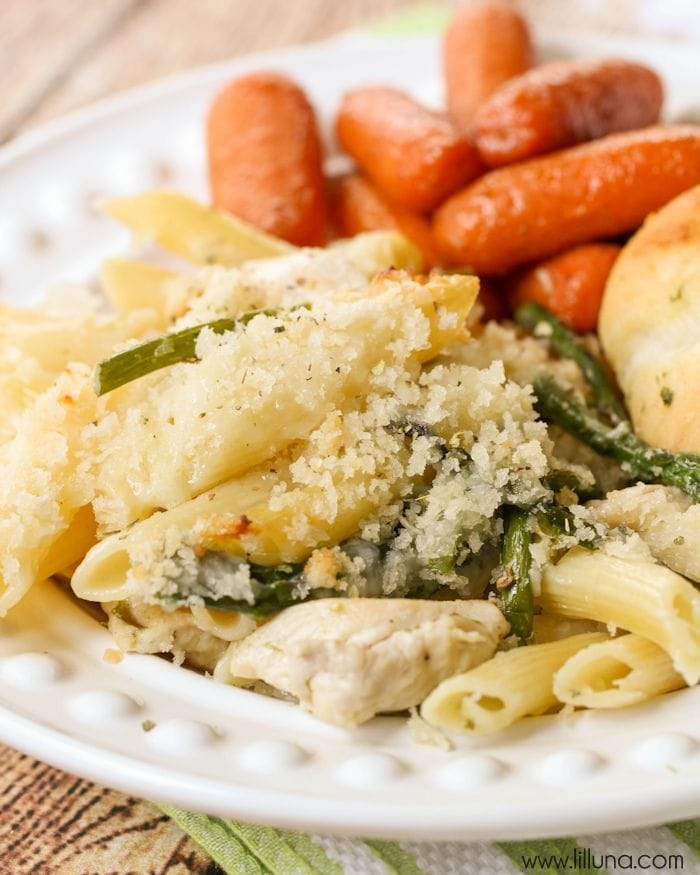 Cheesy Chicken and Asparagus Pasta - a favorite dish topped with panko ...