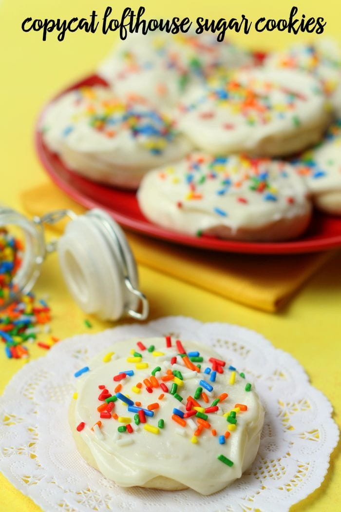 Lofthouse Cookies with white frosting and rainbow sprinkles
