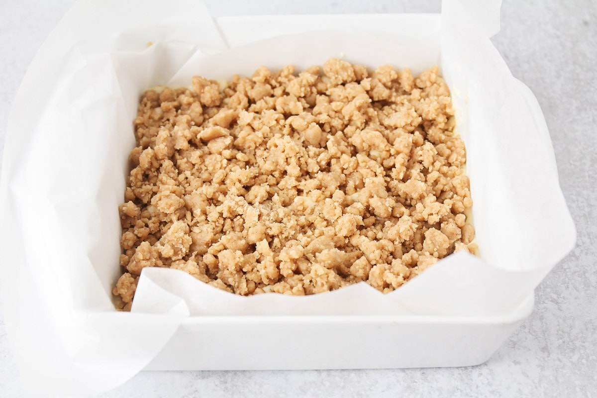 Crumb topping on New York style crumb cake