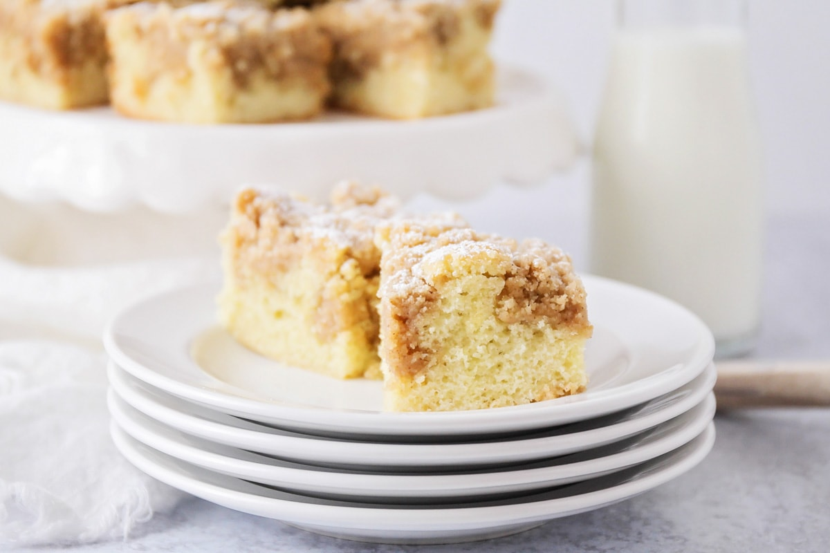 Two slices of new york coffee cake on a white plate